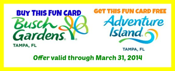 Buy Busch Gardens Get Adventure Island FREE – Expires 3-31-14