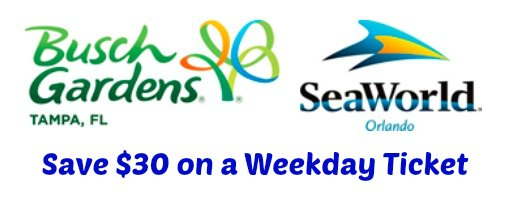 Busch Gardens & SeaWorld Weekday Ticket Offers