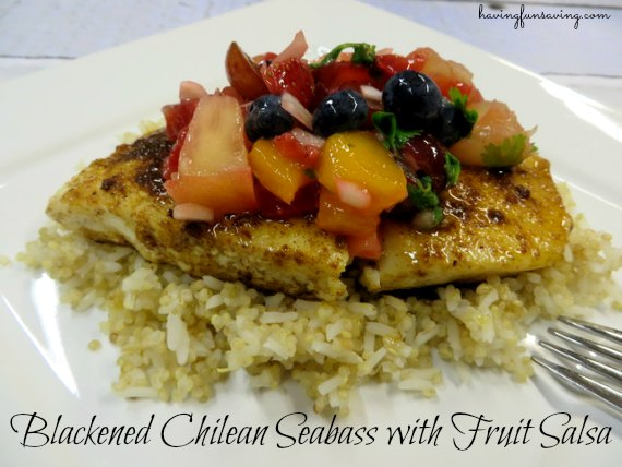 Blackened Chilean Seabass with Fruit Salsa on Food Wine Sunshine and Cooking