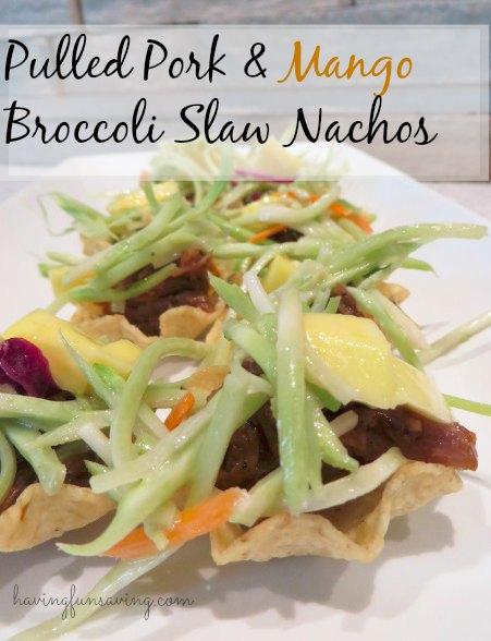 Pulled Pork & Mango Broccoli Slaw Nachos