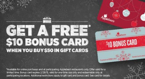 Applebee's Holiday Bonus Gift Card Offer – Get $10 FREE