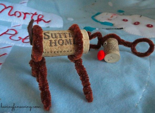 Easy Wine Cork Reindeer