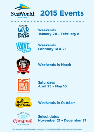 SeaWorld Events for 2015