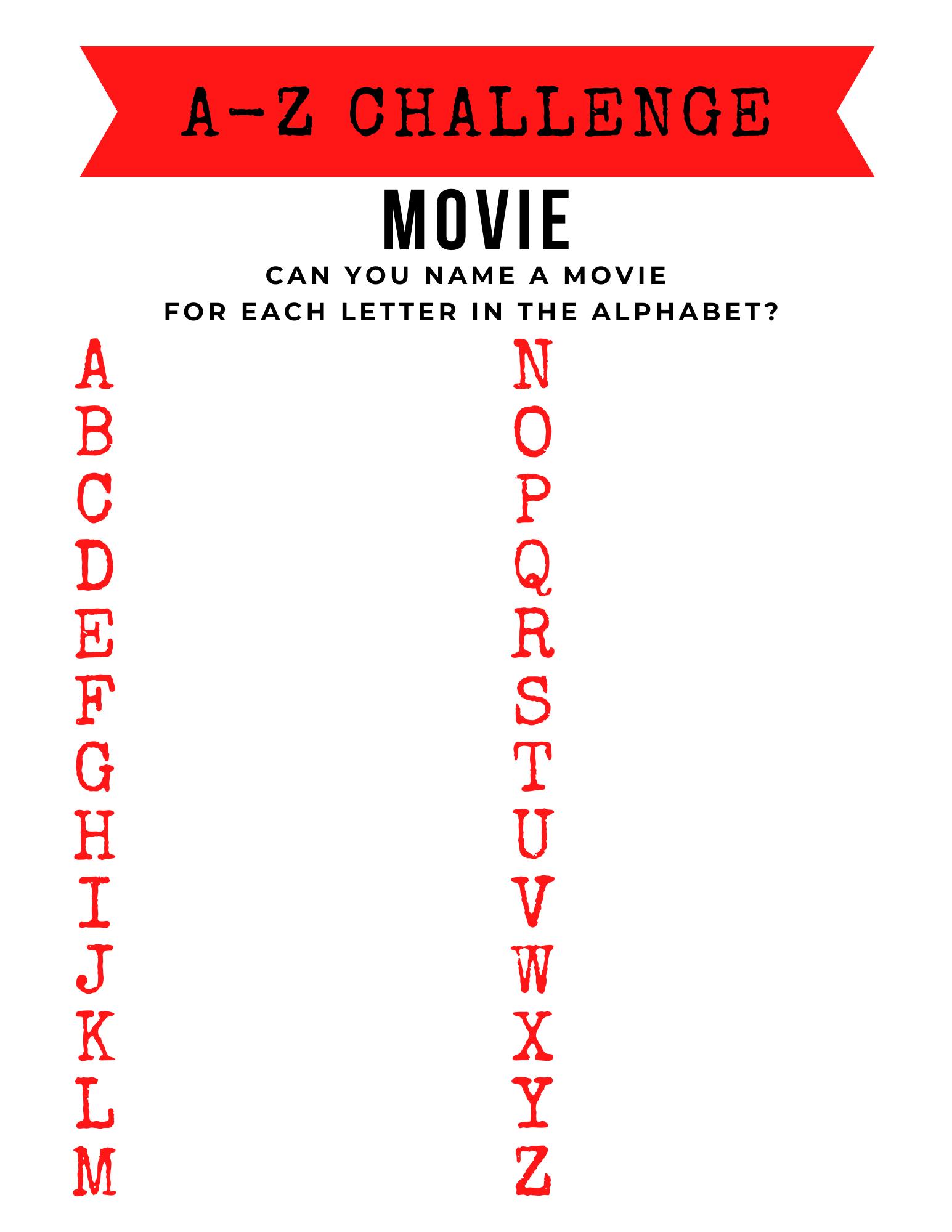 A-Z Challenge Printable