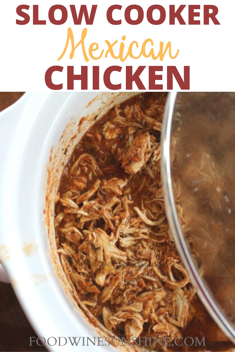Slow Cooker Mexican Chicken | This Mexican Chicken Recipe has just 5 ingredients, it's easy to make and is low fat. Make Salsa Chicken in the slow cooker for dinner tonight or as a freezer to crockpot meal. Read more dinner recipes, healthy recipes and easy recipes the whole family will love on foodwinesunshine.com | Food Wine Sunshine #easyrecipes #dinnerrecipes #dinnerideas #dinner #foodblog #foodblogger