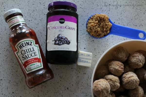 Ingredients for Slow Cooker Grape Jelly Meatballs