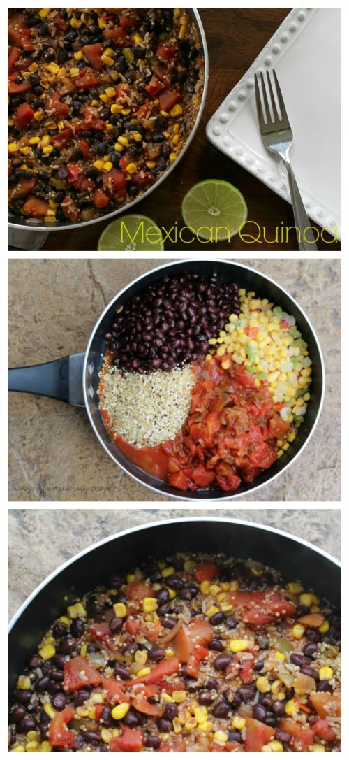 One Pot Mexican Quinoa | This One Pot Mexican Quinoa recipe is easy to make and full of flavor. This healthy dinner recipe is ready in less than 30 minutes, grab this Mexican Quinoa recipe today. Read more dinner recipes, healthy recipes and easy recipes the whole family will love on foodwinesunshine.com