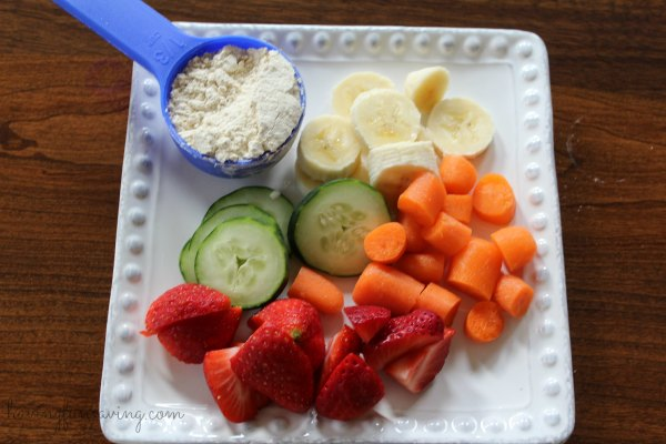 Carrot Cucumber Strawberry Protein Smoothie