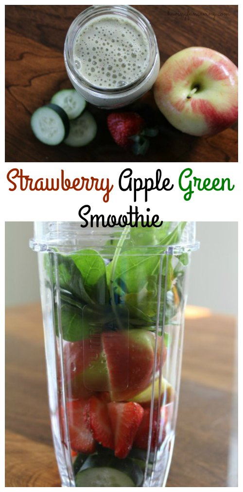 Easy Strawberry Apple Green Smoothie recipe