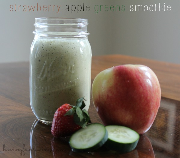 Strawberry apple green smoothie