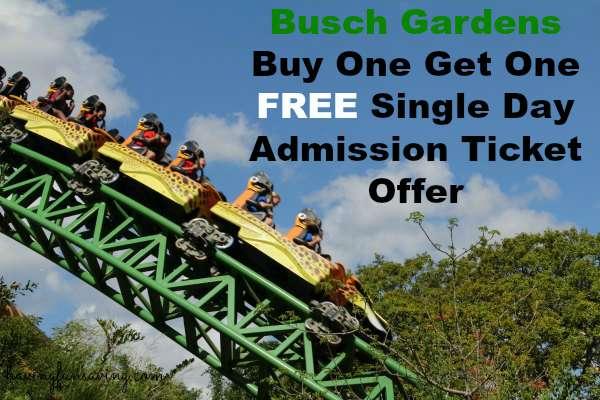Busch Gardens BOGO Ticket Offer