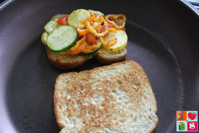 Easy Grilled Cheese and Vegetable Sandwich