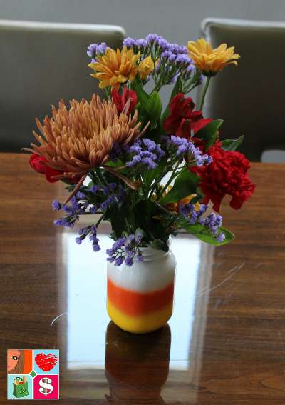 Candy corn mason jar vases