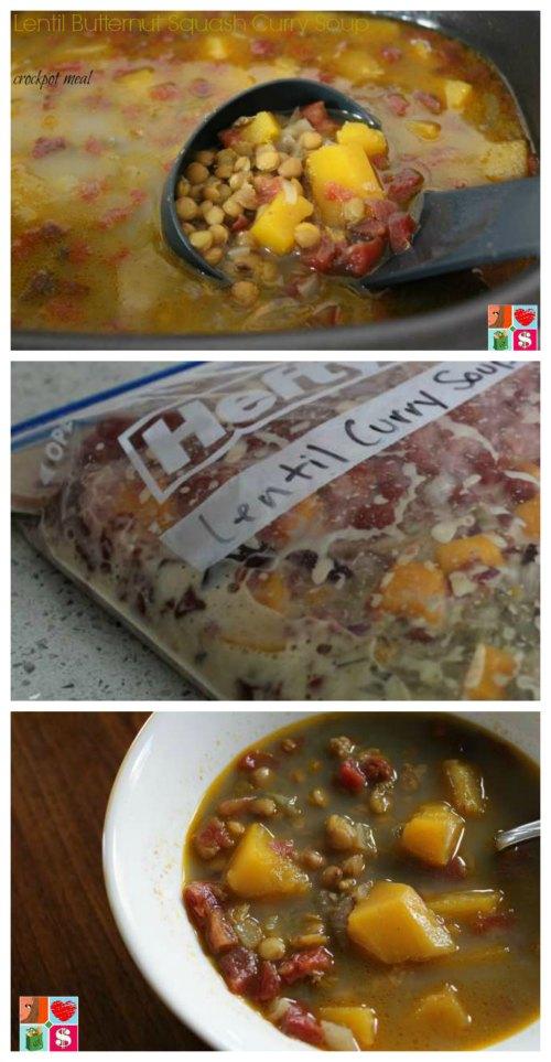 Lentil Butternut Squash Curry Soup - Slow Cooker Recipe on Food Wine Sunshine