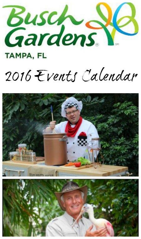 Busch Gardens Tampa 2016 Event Calendar on Food Wine Sunshine