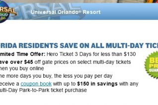 Universal Orlando Hero Ticket Offer