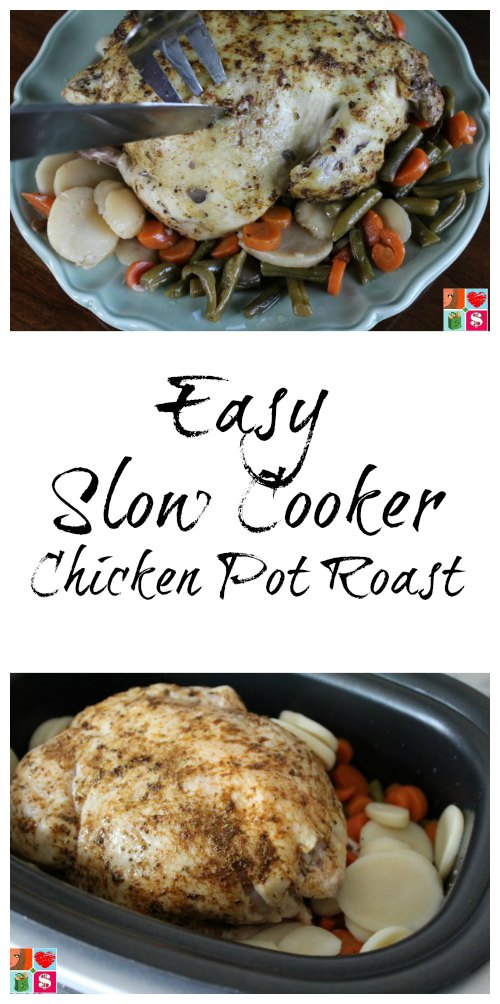 "Easy Slow Cooker Chicken Roast | This Slow Cooker Chicken ""Pot Roast"" Recipe is the perfect weeknight meal. Prepped in under 10 minutes and cooked all day in the crockpot. Read more dinner recipes, healthy recipes and easy recipes the whole family will love on foodwinesunshine.com 
