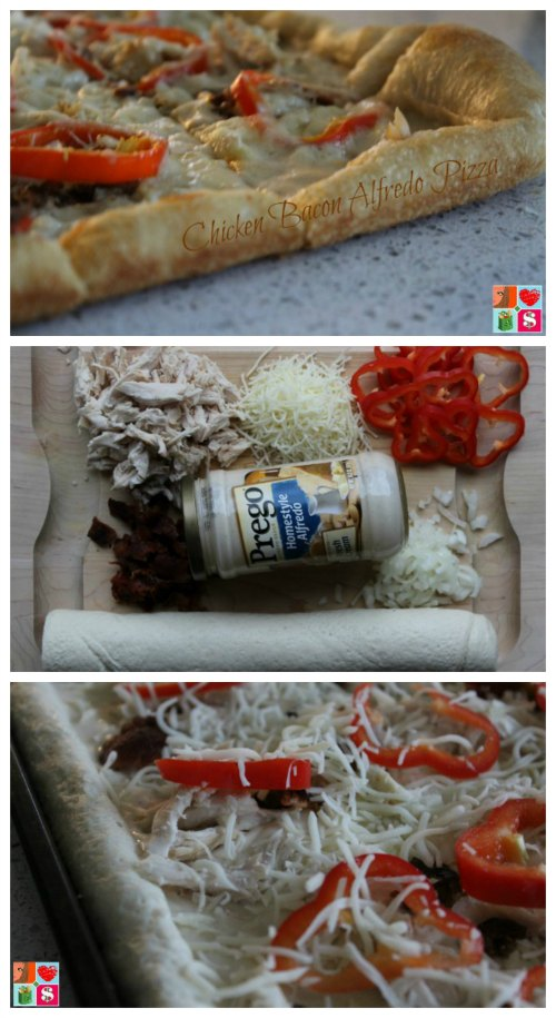 Easy Chicken Bacon Alfredo Pizza
