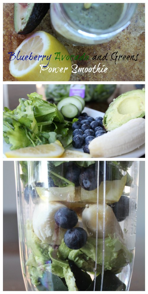 Blueberry Avocado and Greens Power Smoothie