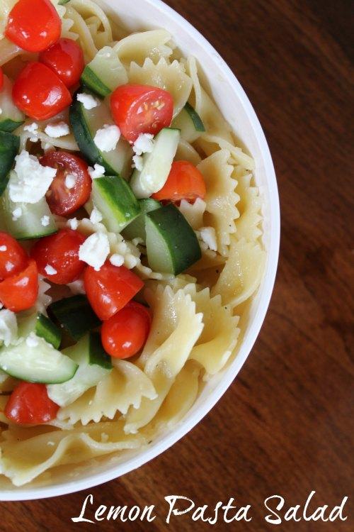 Lemon Pasta Salad with Tomatoes, Cucumber, and Feta Recipe on Food Wine Sunshine