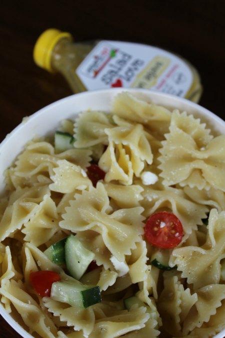 Lemon Pasta Salad with Tomatoes, Cucumber, and Feta on Food Wine Sunshine