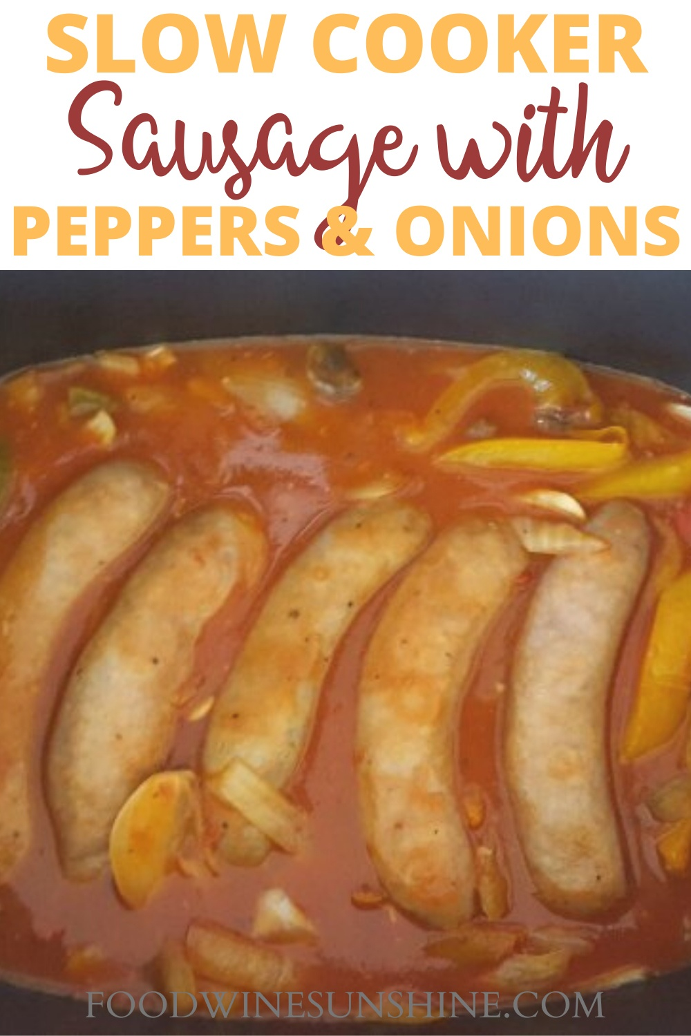 Easy Crock Pot Sausage and Peppers | You can have dinner prepped with just 5 simple ingredients and 5 minutes with this easy Crock Pot Sausage and Peppers recipe. Read more dinner recipes, healthy recipes and easy recipes the whole family will love on foodwinesunshine.com | Food Wine Sunshine #easyrecipes #dinnerrecipes #dinnerideas #dinner #foodblog #foodblogger