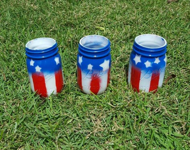 American Flag Mason Jar Vases