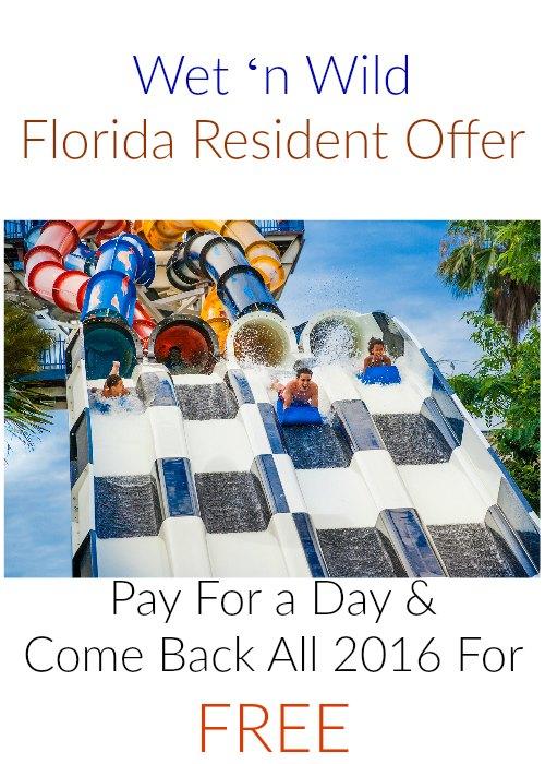 Wet 'n Wild Florida Resident Offer 2016 on Food Wine Sunshine
