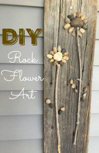 DIY Rock Flower Art on Food Wine Sunshine