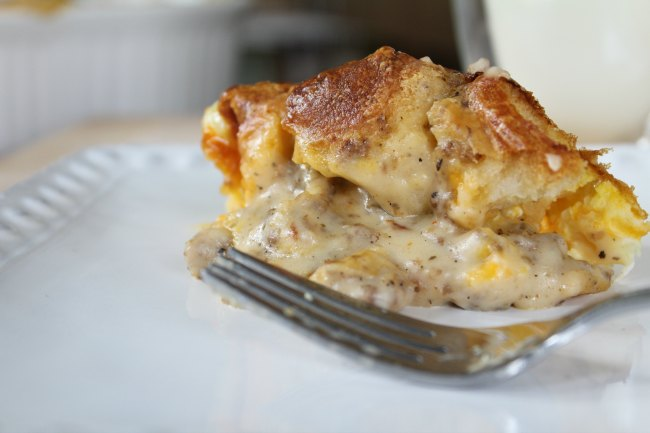 Delicious Egg Biscuits and Sausage Gravy Overnight Bake