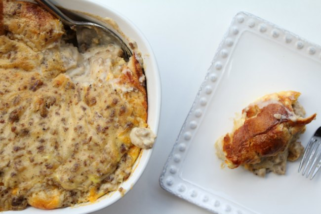 Breakfast casserole with biscuits, gravy and eggs