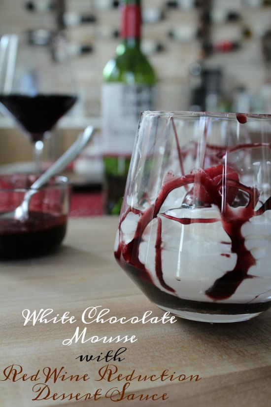 White Chocolate Mousse with Red Wine Reduction Dessert Sauce on Food Wine Sunshine