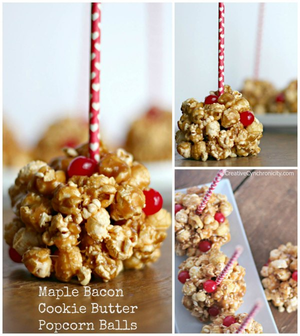 Maple Bacon Cookie Butter Popcorn Balls featured on Food Wine Sunshine