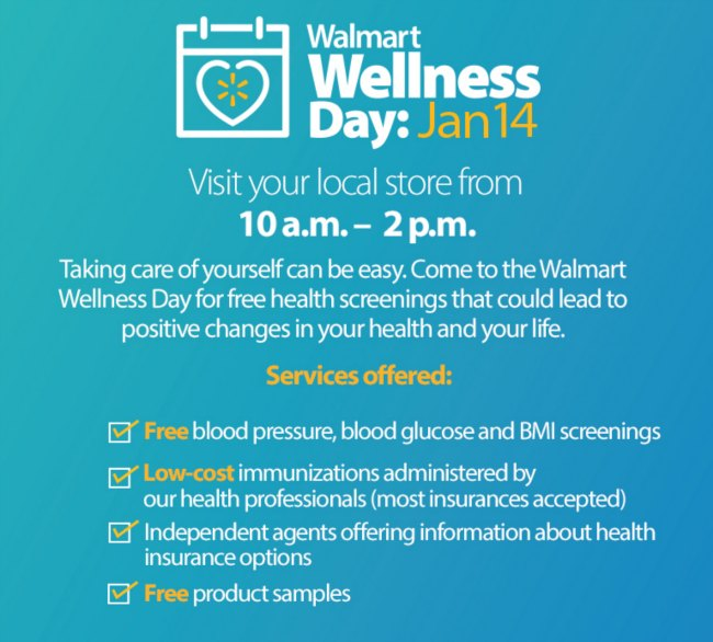 Walmart Wellness Day - Free Health Screenings on Food Wine Sunshine