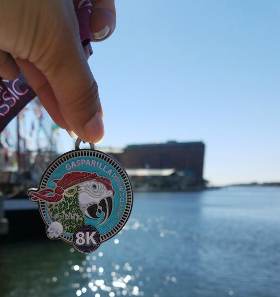 Medal for Gasparilla 8k in Tampa
