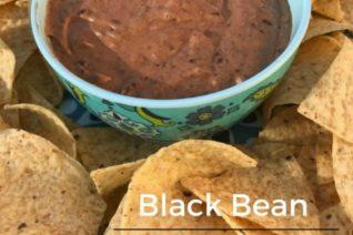 Black Bean Hummus Recipe featured on Food Wine Sunshine