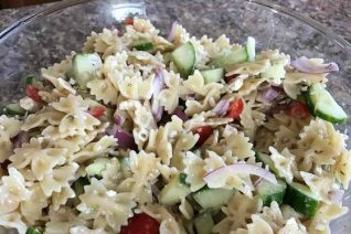 Greek Pasta Salad Recipe featured on Food Wine Sunshine