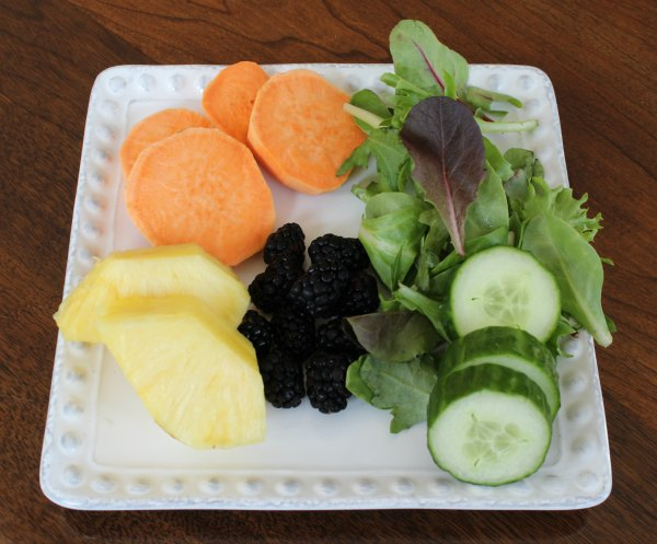 Healthy Sweet Potato Smoothie with Pineapple and Blackberry