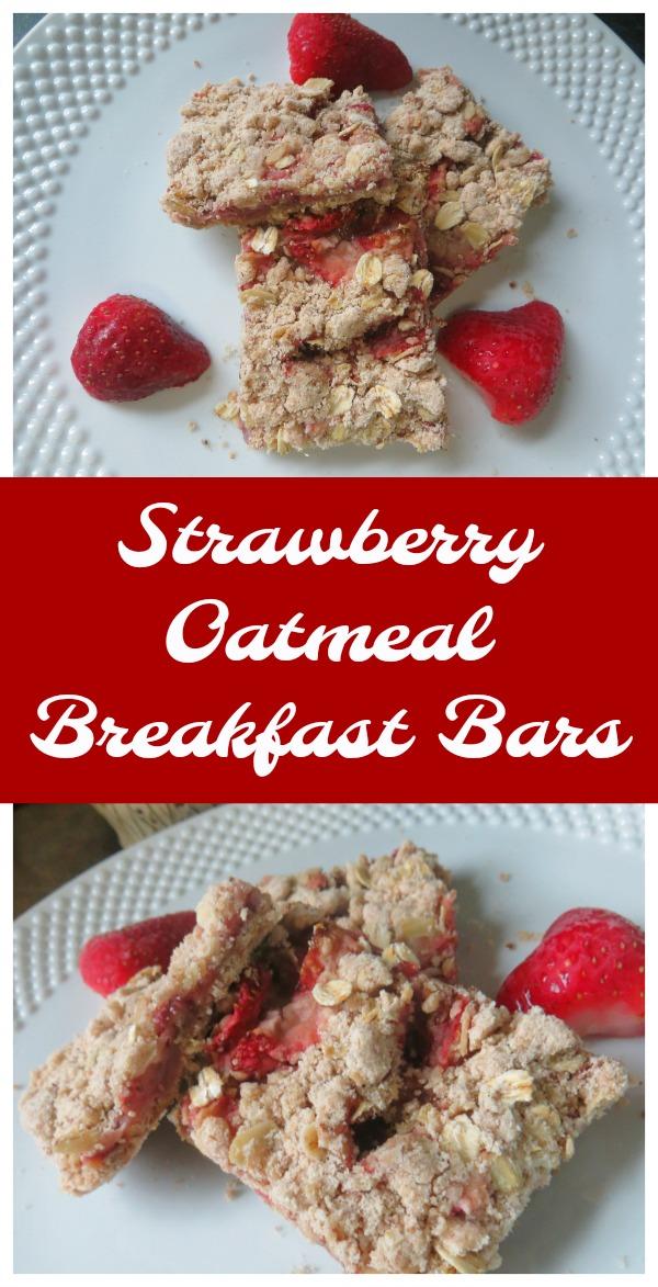 Oatmeal Breakfast Bars with fresh strawberries