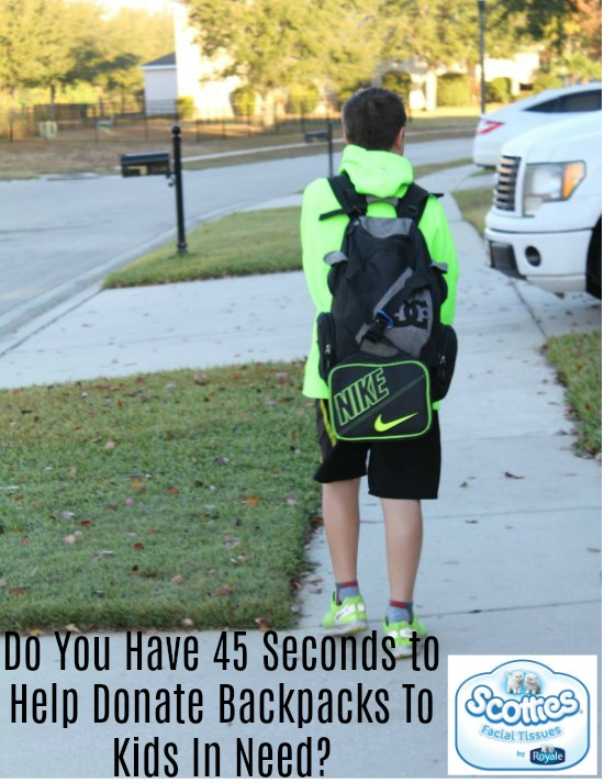 Do You Have 45 Seconds to Help Donate Backpacks To Kids In Need? - Food Wine Sunshine