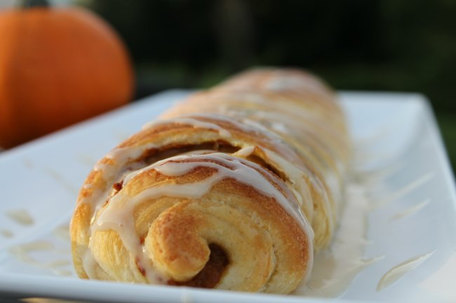 Easy Pumpkin Roll With Maple Drizzle Using Crescent Rolls