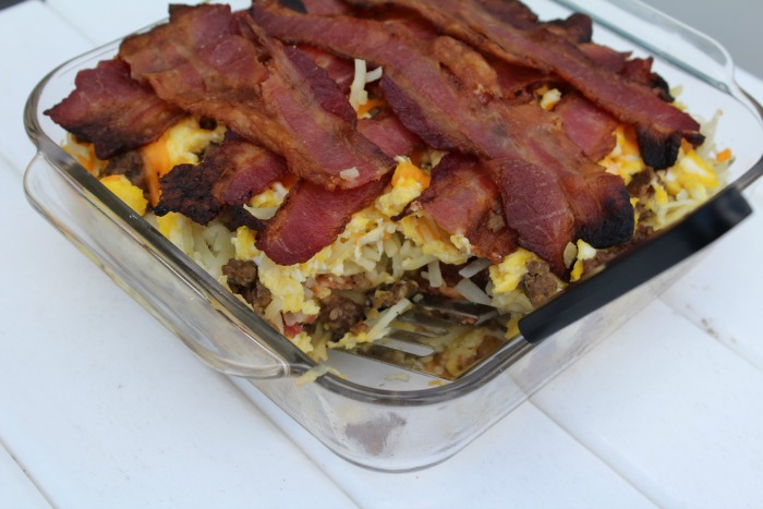 Breakfast Lasagna with bacon and hashbrowns