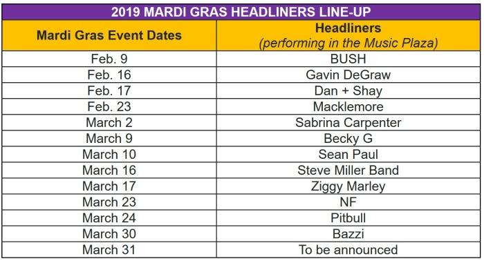 Universal Orlando Mardi Gras Concerts