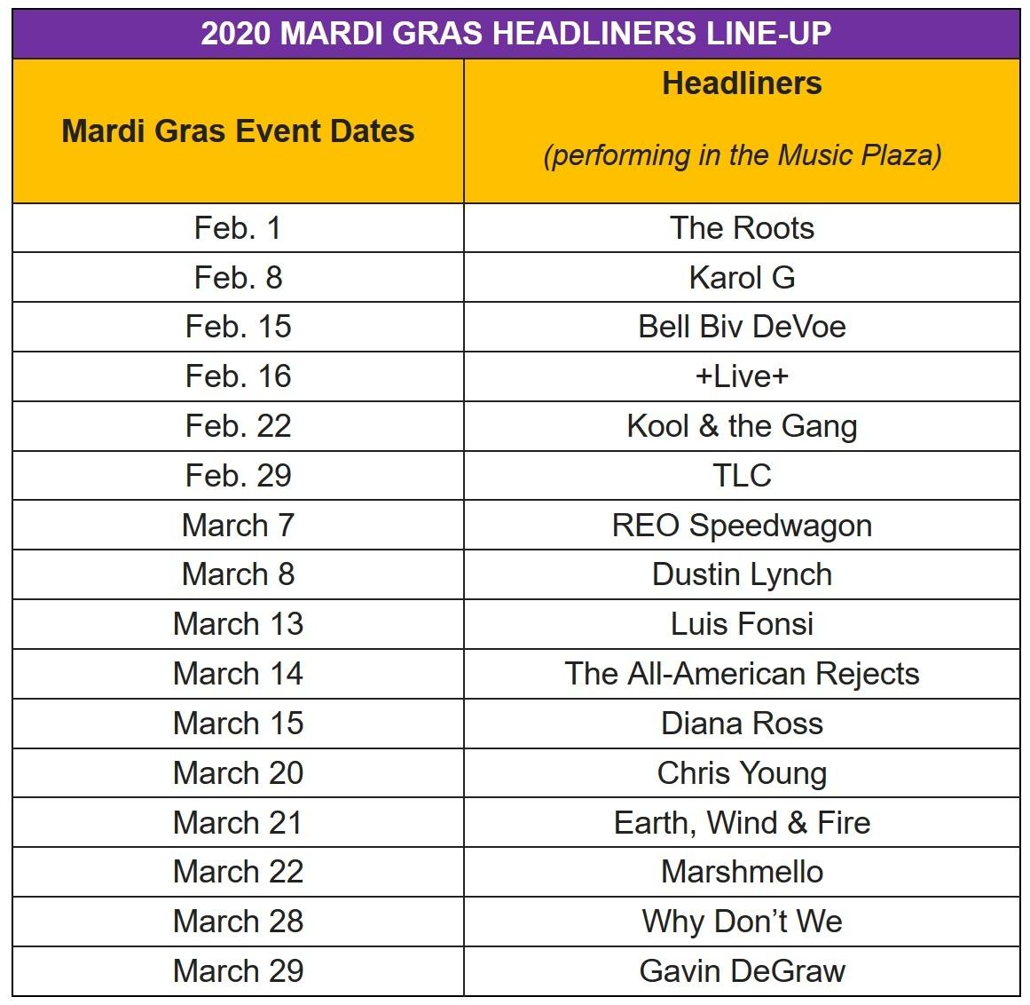 Universal Orlando Mardi Gras Concert Line Up