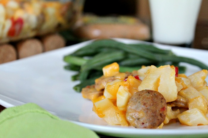 Tasty Roasted Red Pepper Chicken Sausage and Potato Casserole