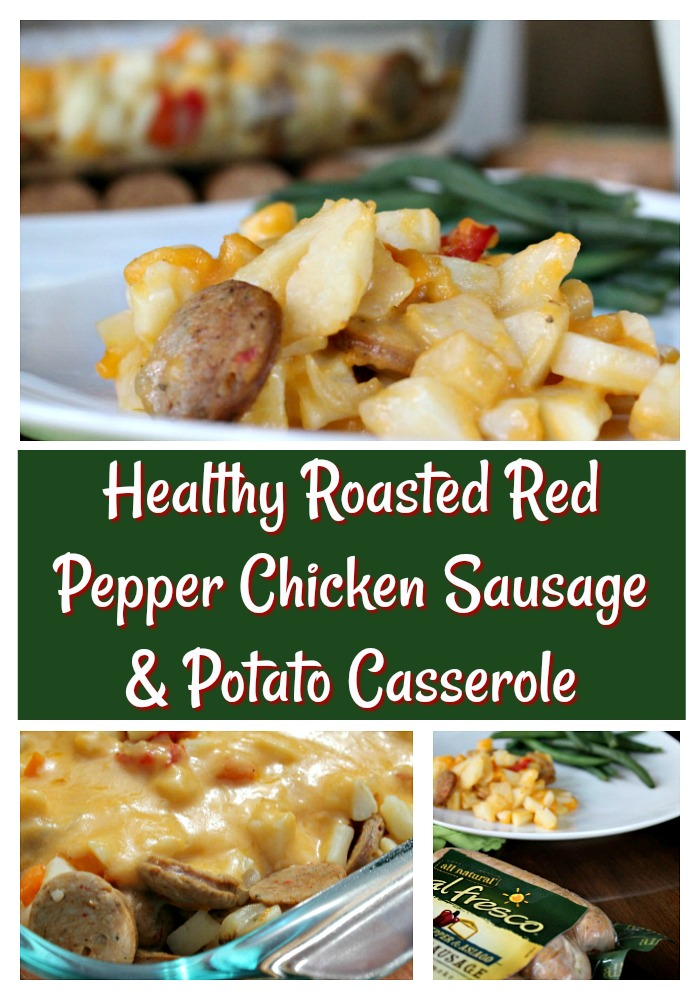 Delicious Roasted Red Pepper Chicken Sausage and Potato Casserole