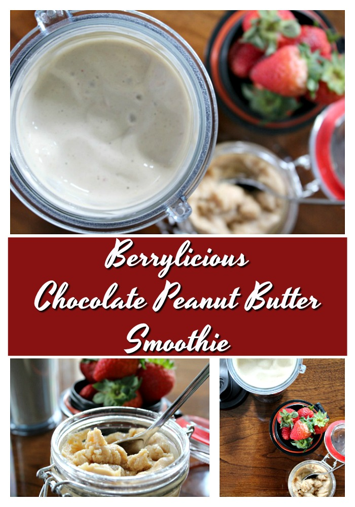 Healthy Strawberry Chocolate Peanut Butter Smoothie