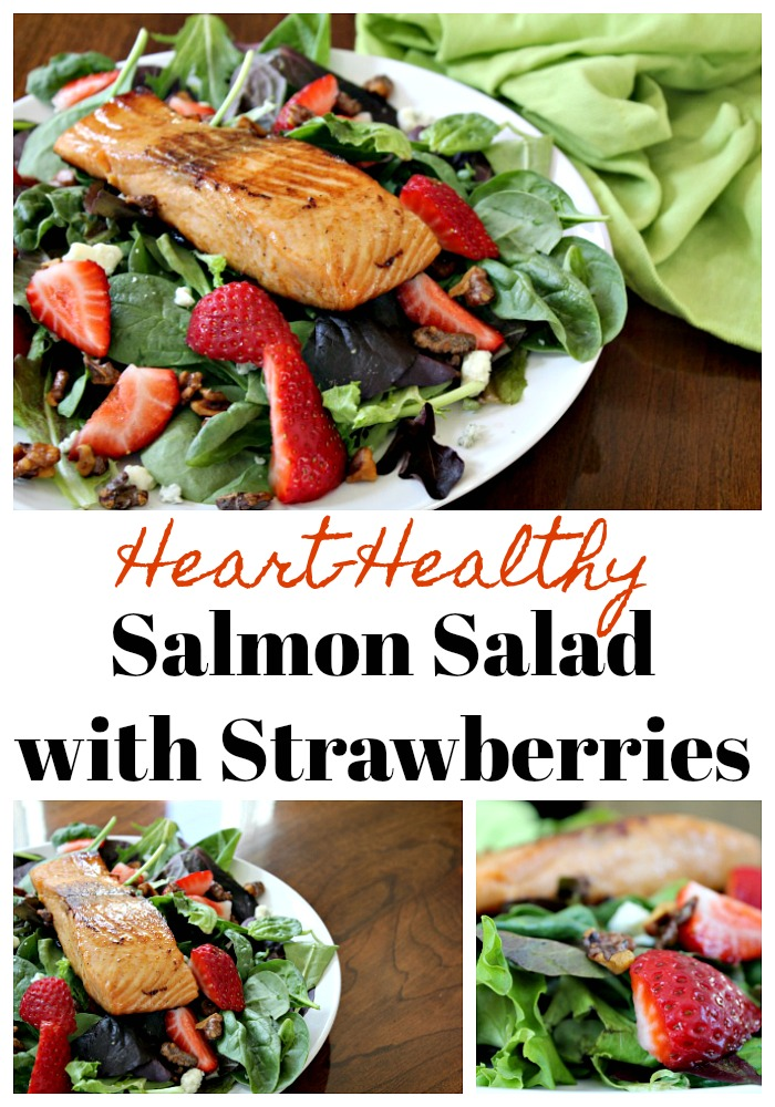 Salmon Salad topped with walnuts and fresh strawberries