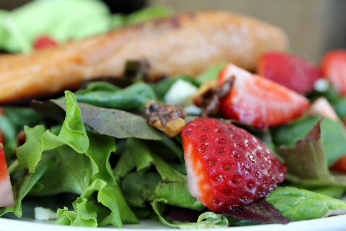 Salmon Salad with homemade strawberry dressing