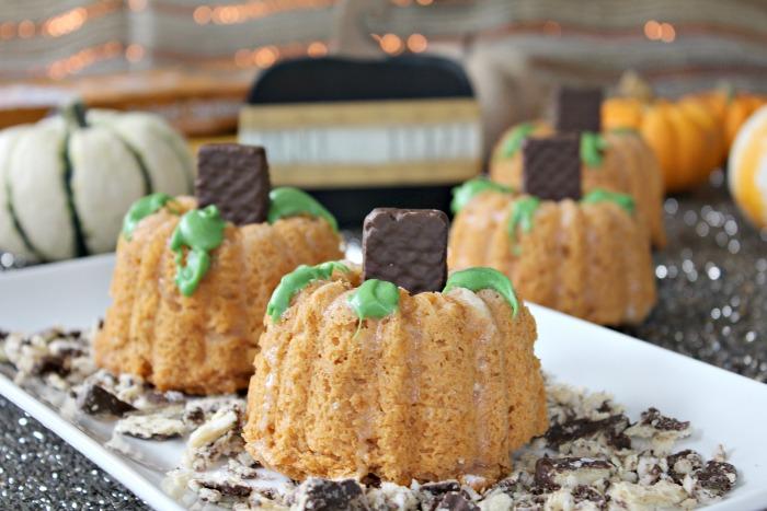 Mini Pumpkin Angel Food Bundt Cakes